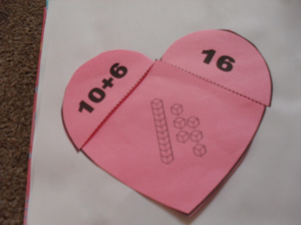 making, counting and expanding teen numbers, heart shaped activity ideal for math interactive notebook