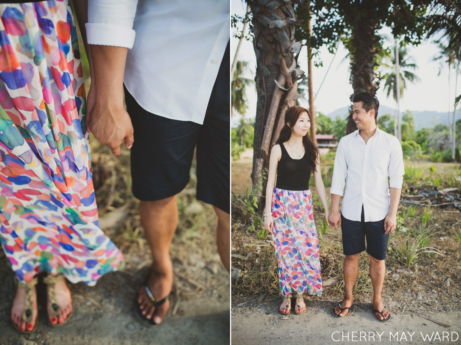 cute couple standing holding hand smiling at each other, Ban Tai beach on Koh Samui, engagement photos