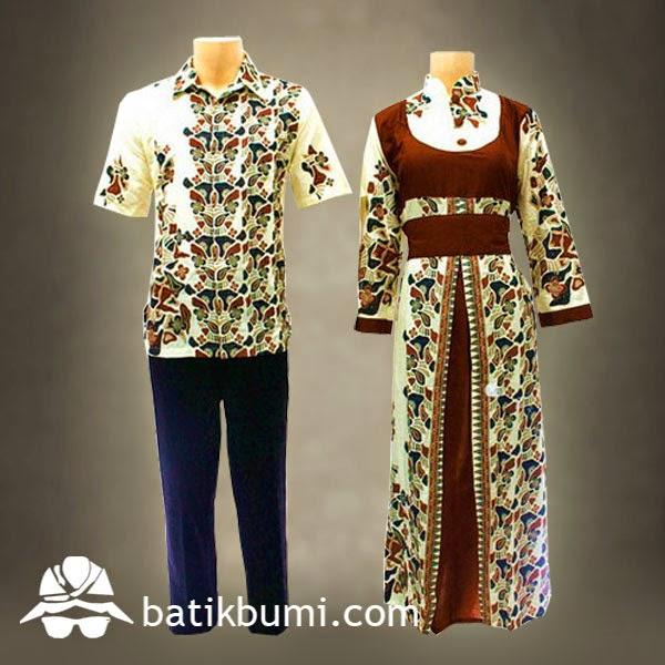 Batik Gamis Motif Batu Coklat