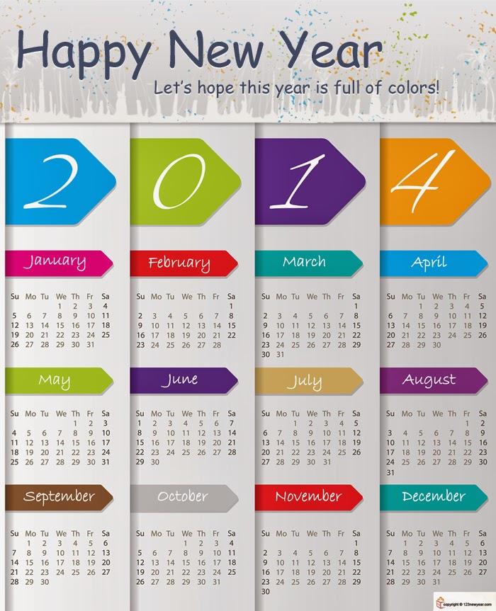 2014 Year Calendar Printable Free