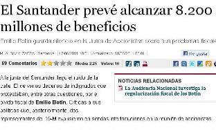 EL SANTANDER PREVE ALCANZAR 8.200 MILLONES DE BENEFICIOS