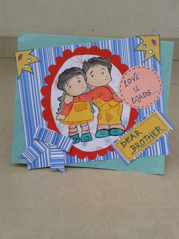 Card Making Ideas For Raksha Bandhan Part - 23: I Immediately Sketched It Out And Colored It And Made This Cute Little Card  For My Bro.