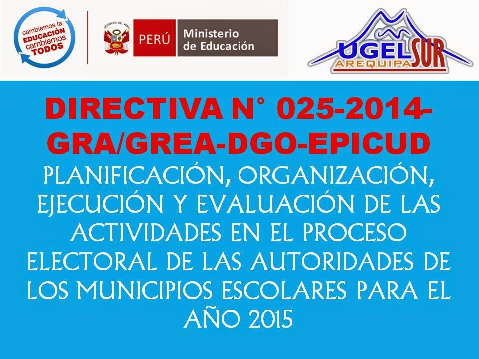 DIRECTIVA 025 Elección de Municipios Escolares