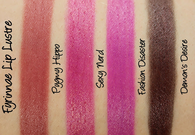 Fyrinnae Lip Lustre - Pygmy Hippo, Sexy Nerd, Fashion Disaster, Demon's Desire Swatches & Review