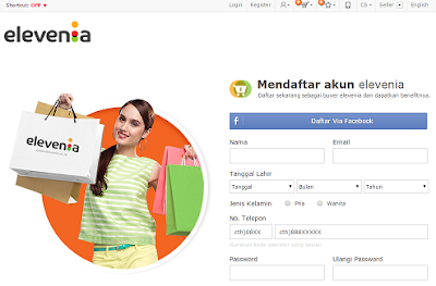 halaman register website elevenia