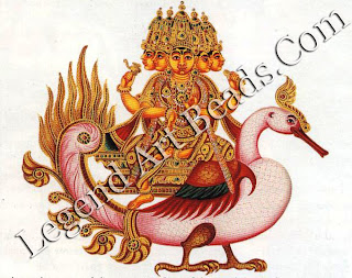 Brahma, the creator of the universe, is depicted here with five heads rather than the usual Four. He rides on his swan-carrier and holds the hymns of the Vedas.