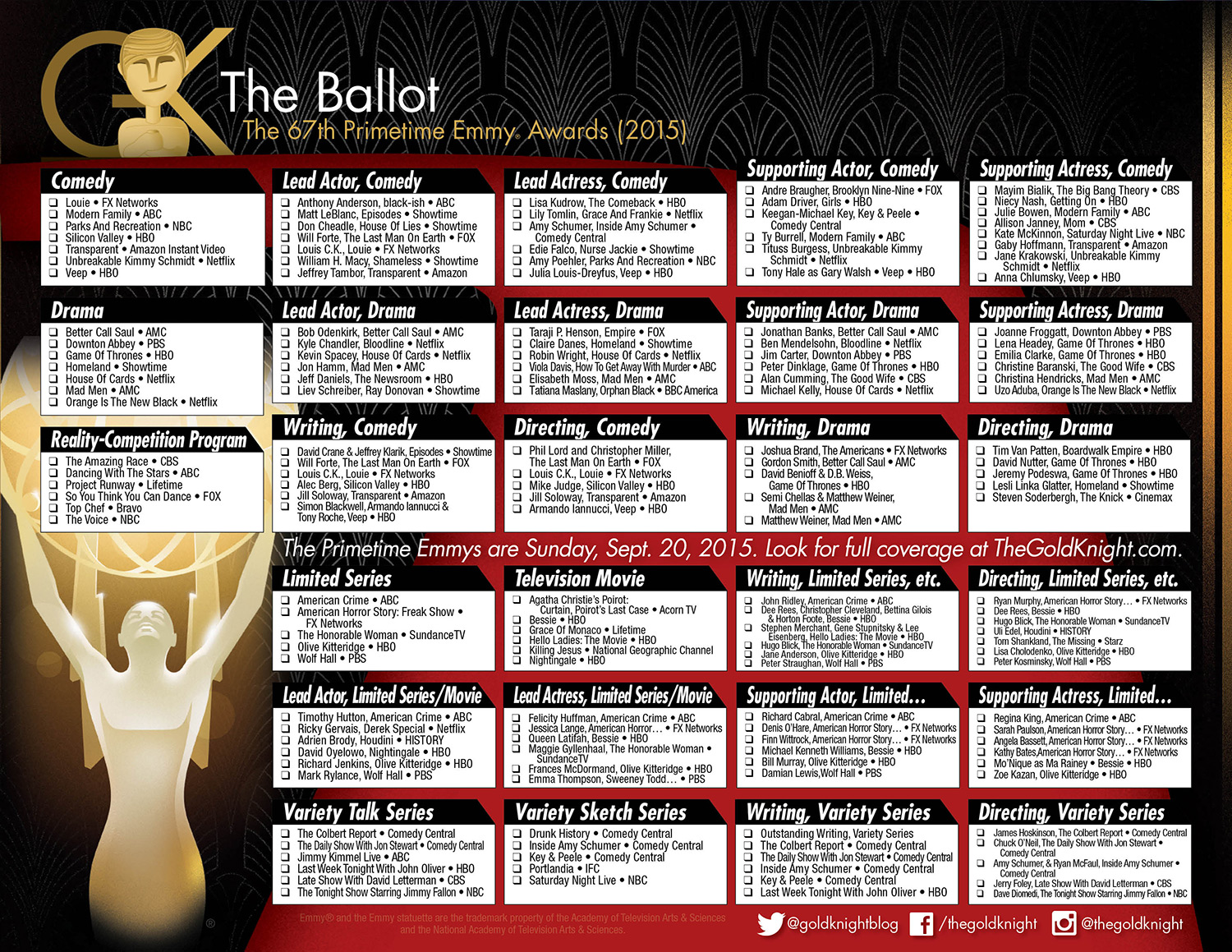 photo regarding Printable Ballot identified as 2015 Primetime Emmy Awards printable ballot The Gold