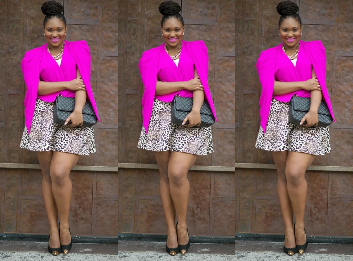 Boohoo Plus Pink Cape, Leopard Print Skirt, Chanel Bag, Black Pumps