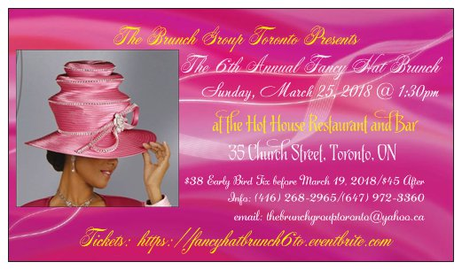 Join the Brunch Group Toronto for the 6th Annual Fancy Hat Brunch, Toronto, ON - Sunday, March 25th