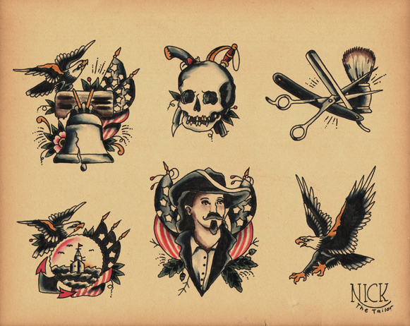 old school tattoo flash by calico tattoo. Black Bedroom Furniture Sets. Home Design Ideas