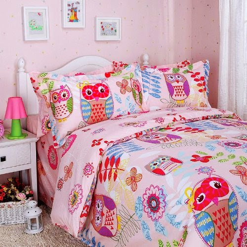 Happy Forest Pink Owl Duvet Cover Set Owl Bedding (Twin)