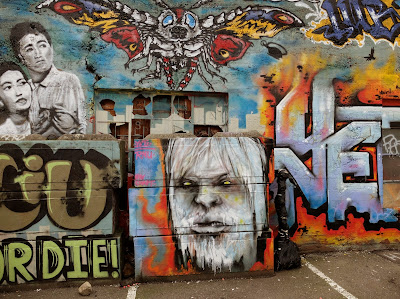 Godzilla-themed Murals Behind Cha Cha Lounge
