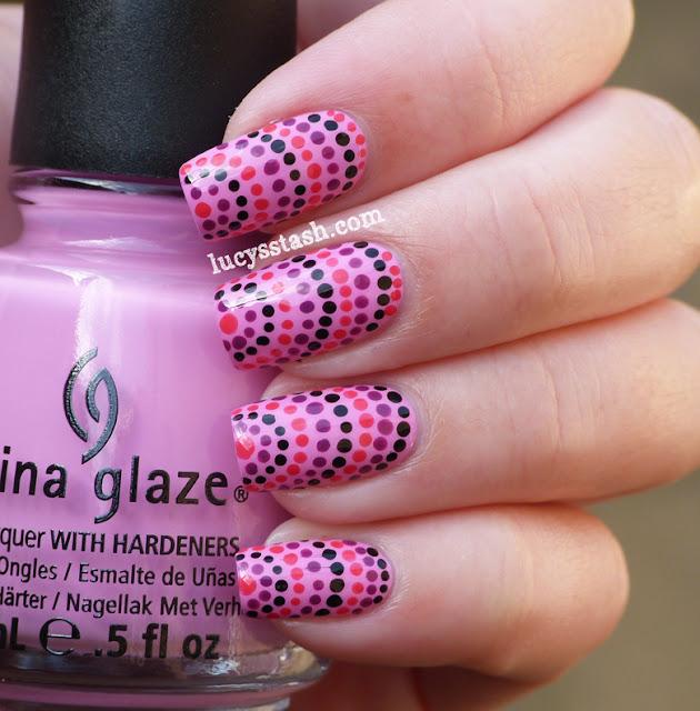 Lucy's Stash - Half-moon dotticure nail art manicure