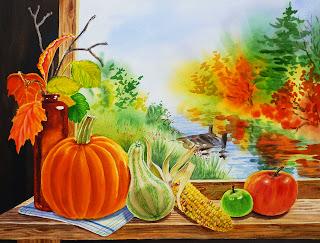Corn Gourd Apples Impressionism style