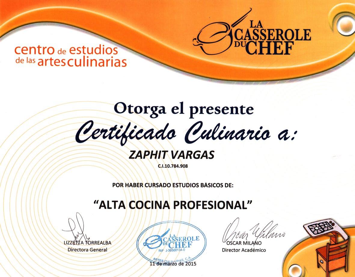 Certificado Cocina