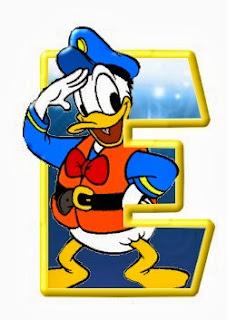 Alfabeto de personajes Disney con letras grandes E Donald.