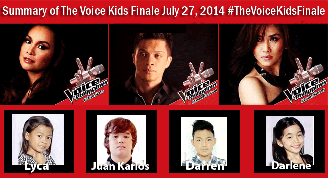 Summary of The Voice Kids Finale July 27, 2014 with hashtag #TheVoiceKidsFinale