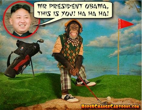 obama, obama jokes, political, humor, cartoon, conservative, hope n' change, hope and change, stilton jarlsberg, kim jung un, north korea, sony, hacking, monkey