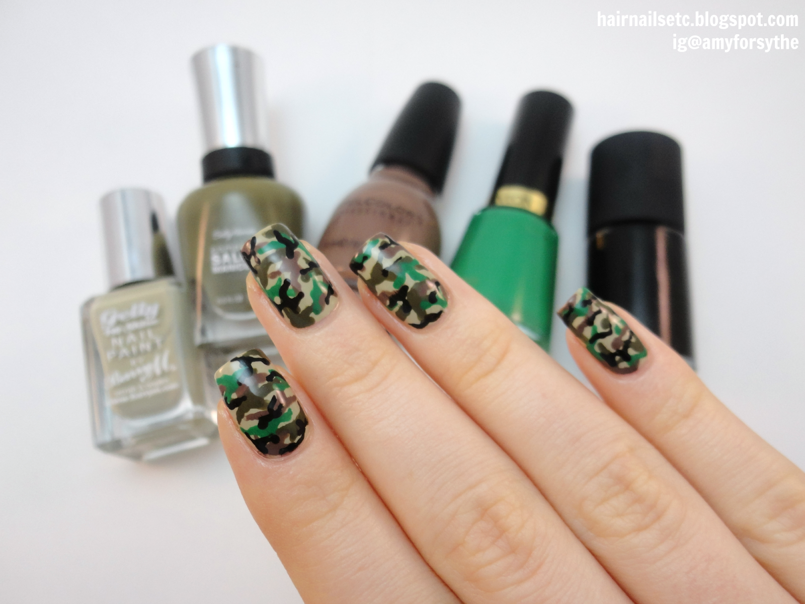 Simple Camouflage Print Nail Art - hairnailsetc.blogspot.co.uk / instagram.com/amyforsythe