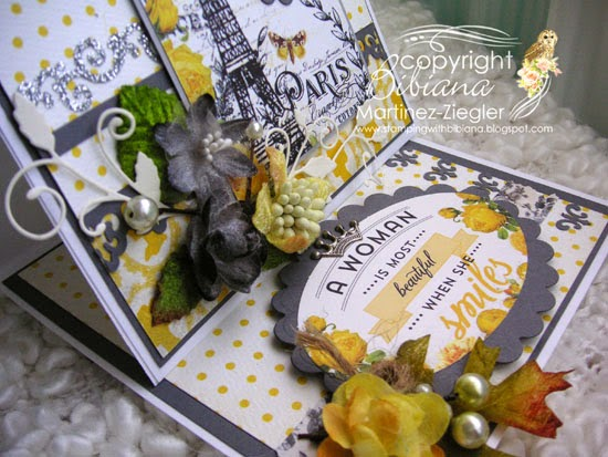 detail easel card with petaloo and authentique papers