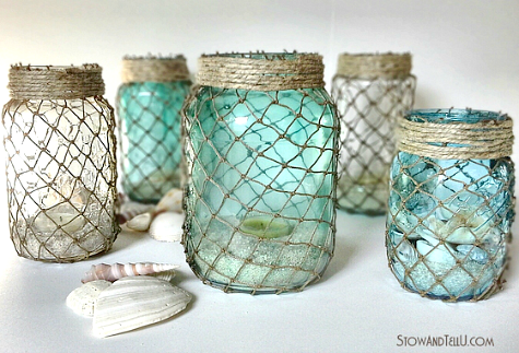 Diy fish net jars do it yourself ideas and projects for Fishing net decor ideas