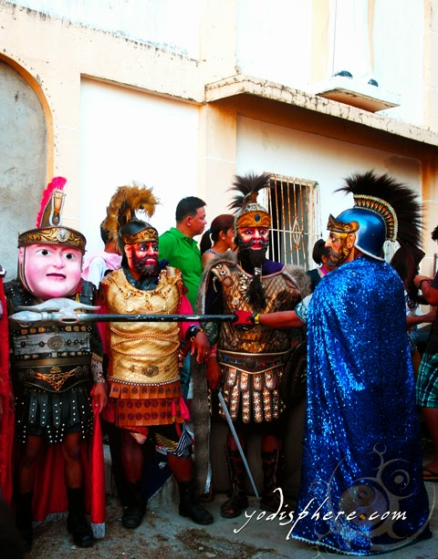 Moriones bullying other morion on a funny chubby mask