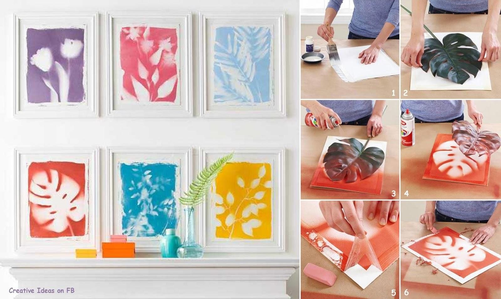 Diy cuadros pinturas decoradas con hojas handbox for Cuadros originales decoracion
