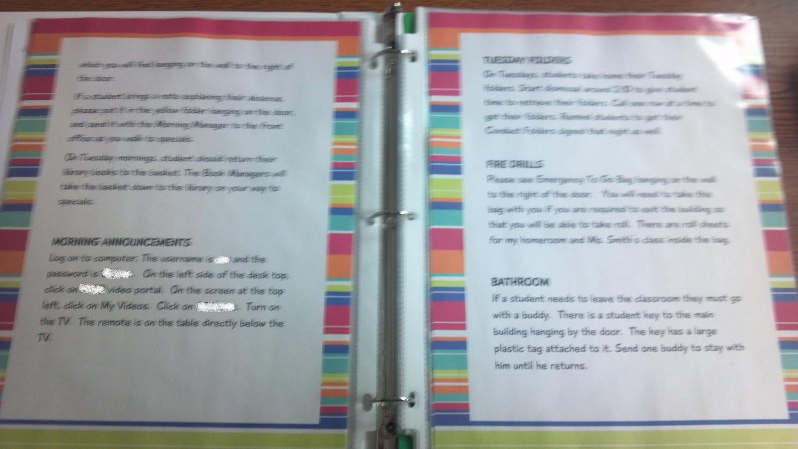 My Organized Chaotic Classroom: Sub Binders