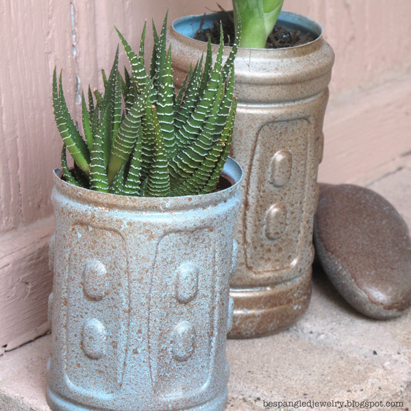 Bespangled jewelry upcycled plastic water bottle planters for Plastic bottle planter craft