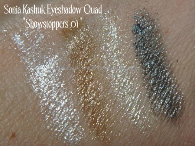 """Swatches: Sonia Kashuk Eyeshadow Quad """"ShowStoppers-01 ..."""