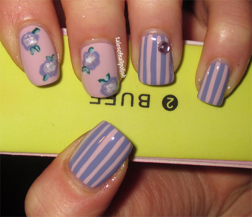 stripes flowers nail art