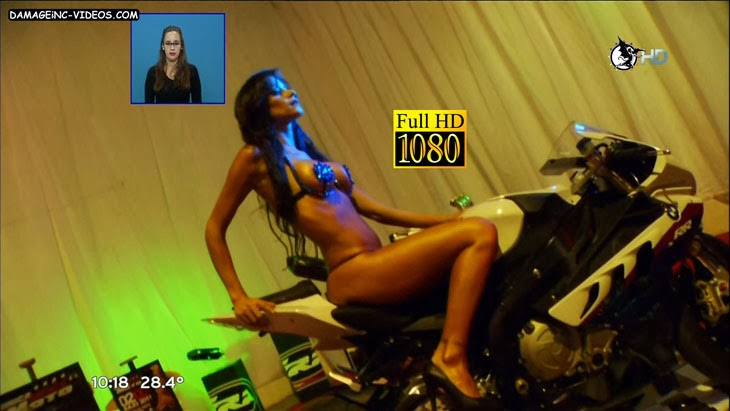 Hot Model Evangelina Carrozzo riding a motorcycle in thong damageinc HD video