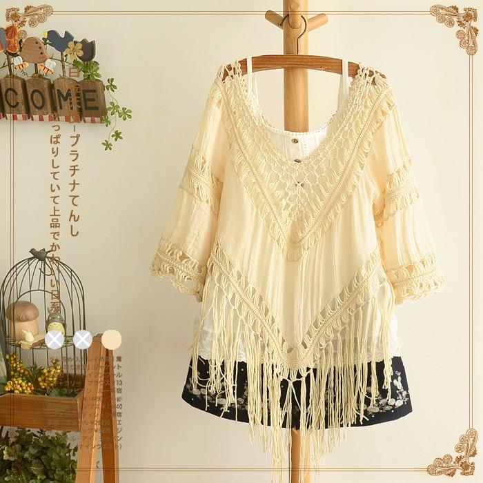 áo kiểu nữ tua dài phong cách xì tin