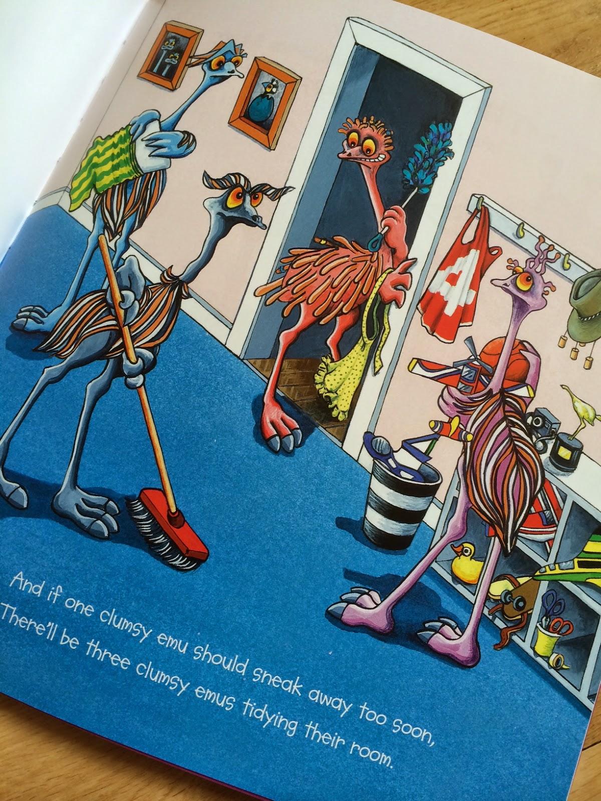 Sneak peek inside Ten Clumsy Emus by Ed Allen and illustrated by Wendy Binks