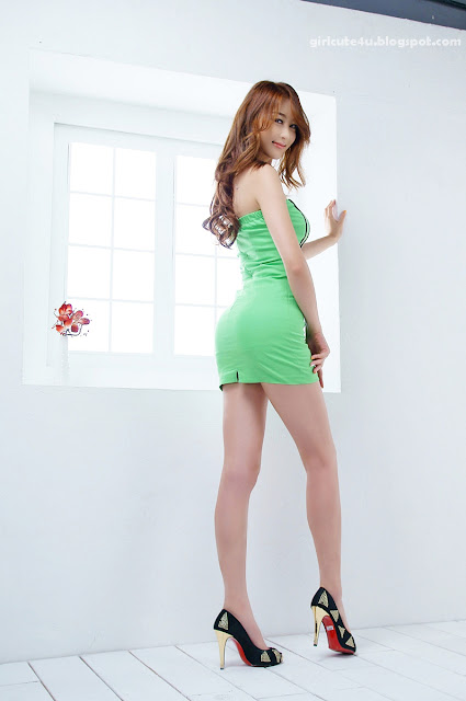 8 Eun Bin Yang-Green Mini Dress-very cute asian girl-girlcute4u.blogspot.com