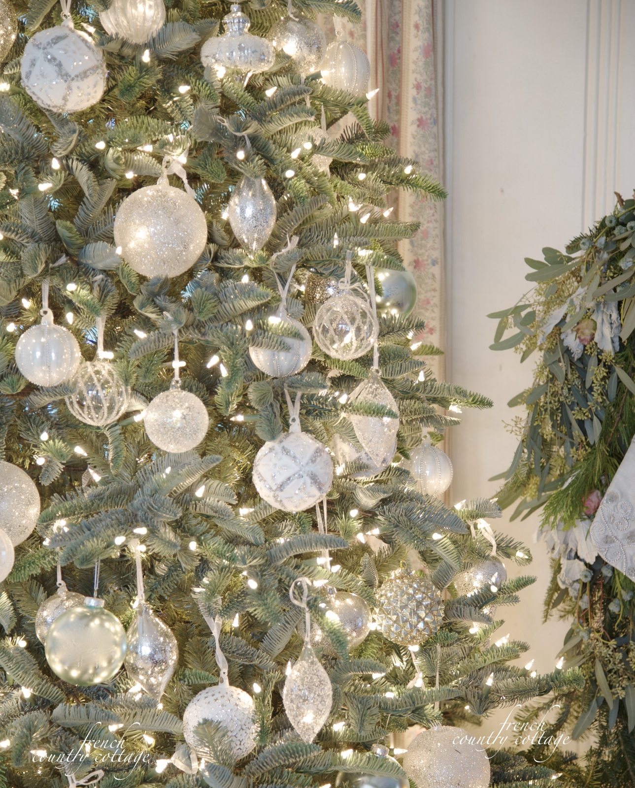 White french blue sparkle christmas tree french country cottage balsam hill white clear ornaments french country cottage christmas arubaitofo Gallery