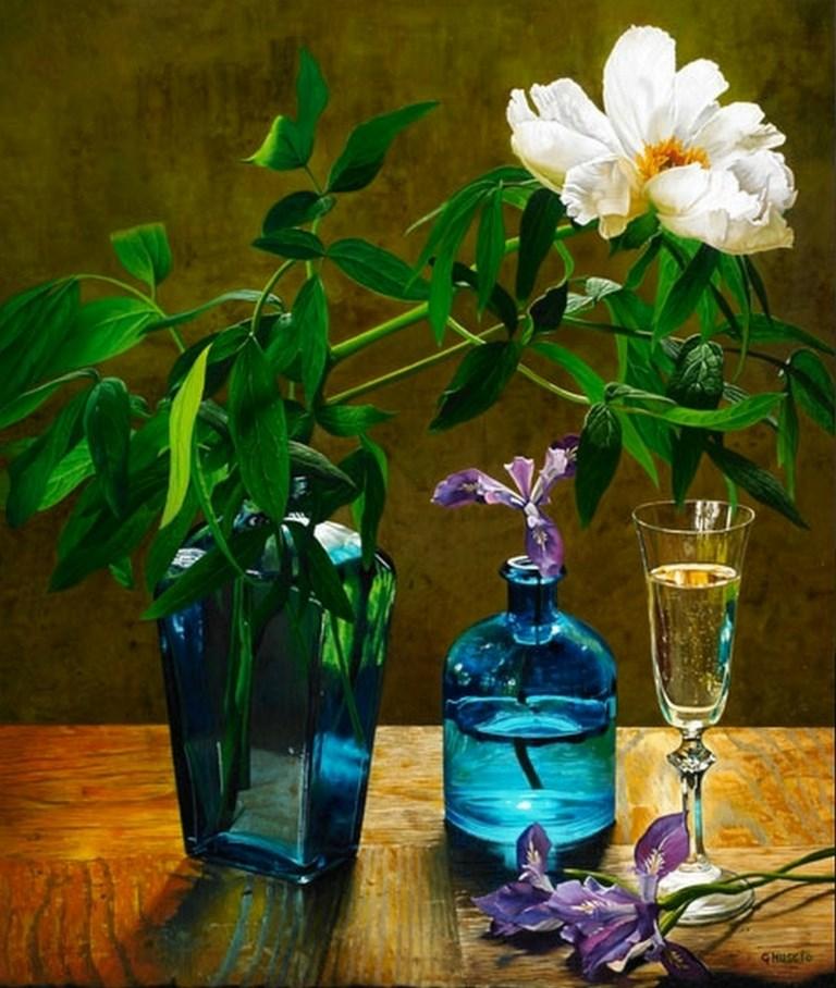 jarrones de cristal con flores pintados con oleo sobre lienzo