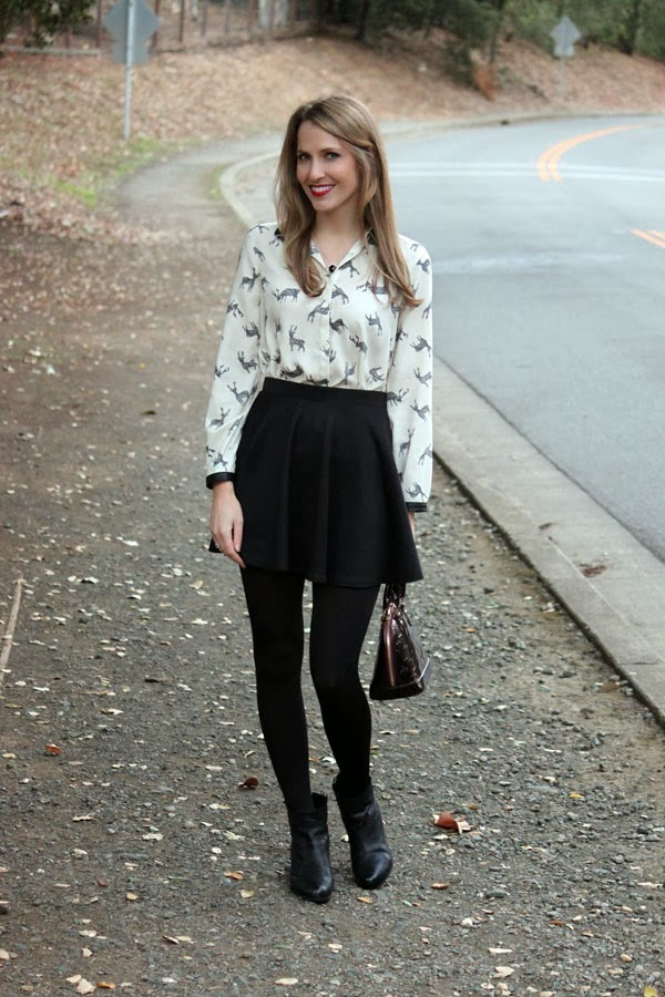 Holiday outfit: reindeer blouse, skirt & ankle booties