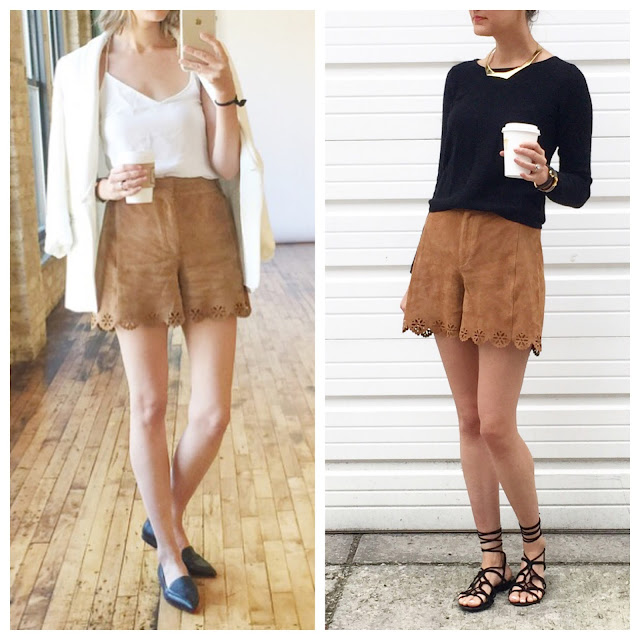 suede shorts outfit