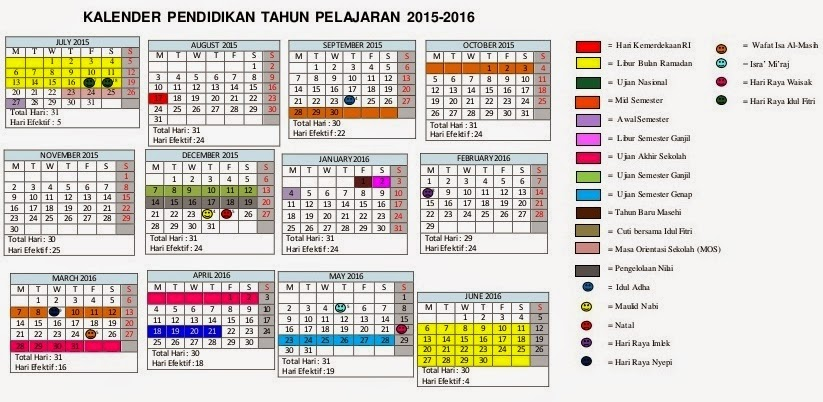 SMP Ma'arif 01 Nurul Muttaqin: kalender pendidikan 2015/2016