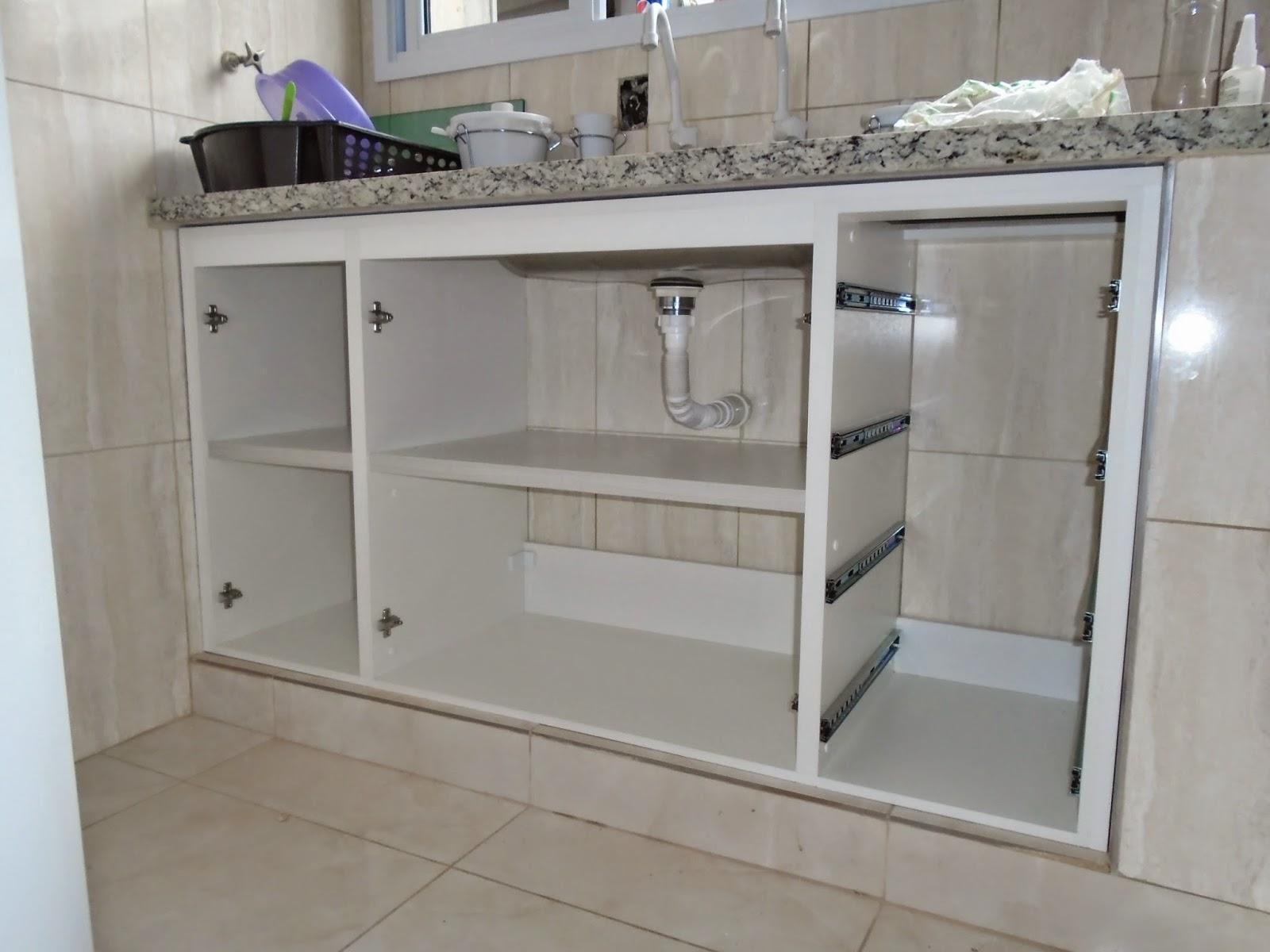 Marcenaria Caseira: Gabinete Sob Pia de Cozinha   Portas Deslizantes  #585A73 1600 1200