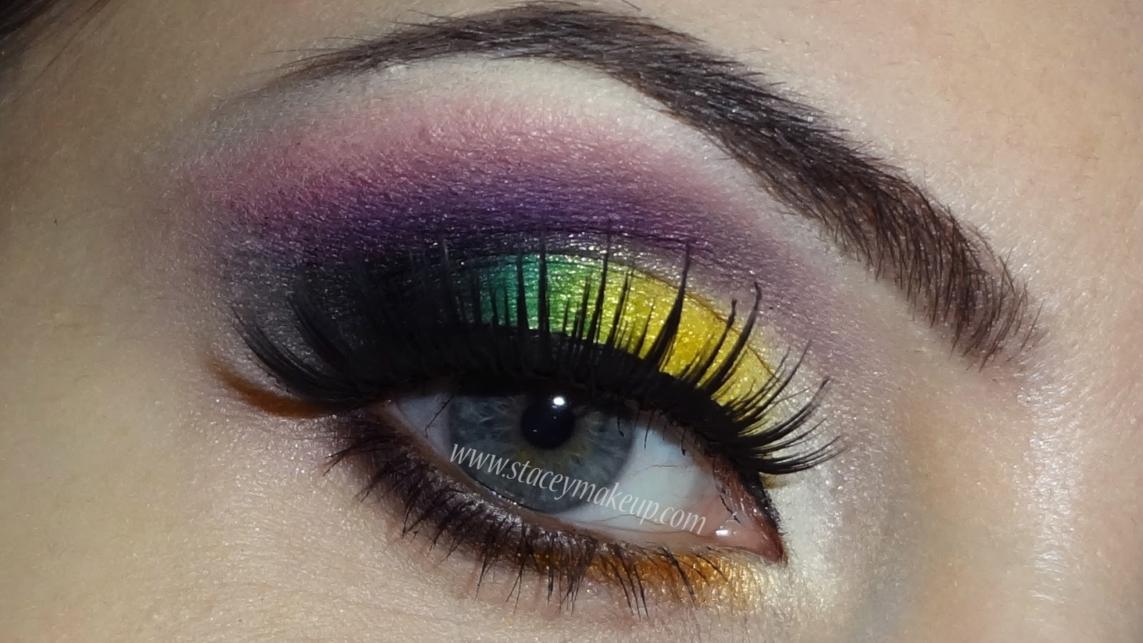 yellow green and pink makeup