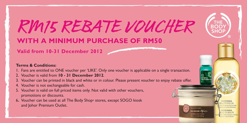 The Body Shop RM15 Voucher Giveaway – Shop Discount Vouchers