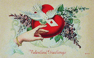 antique valentine postcard post card, heart, flowers, dove, message