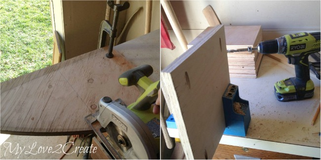 cutting scrap plywood for desk shelves, drilling pocket holes