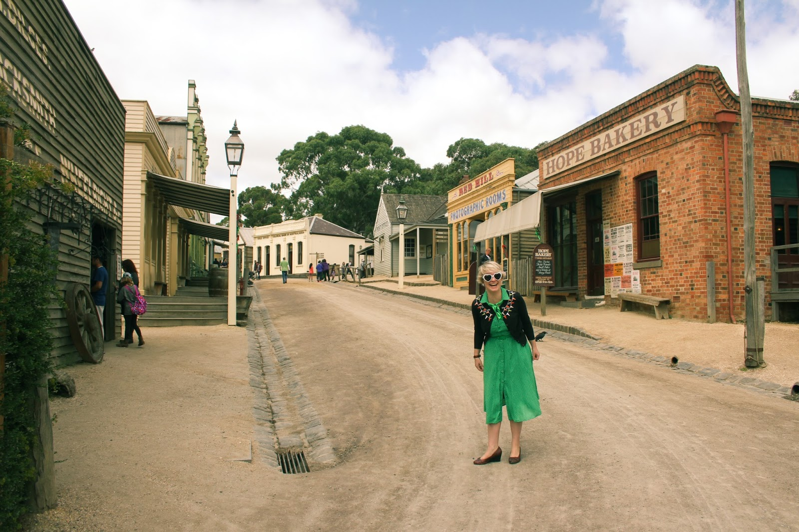 Finding Femme visits Sovereign Hill wearing green polka dot Review Australia, Laura Ashley, Cath Kidston and Sandler.
