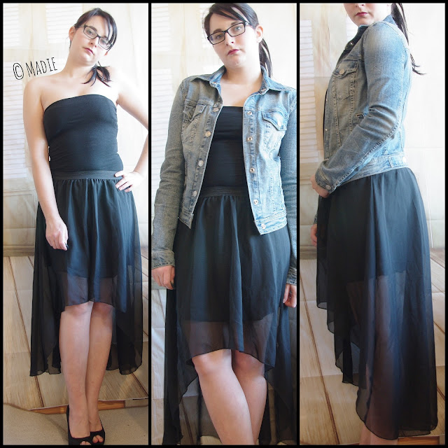 Outfit Black Vokuhila Skirt & Jeans Jacket