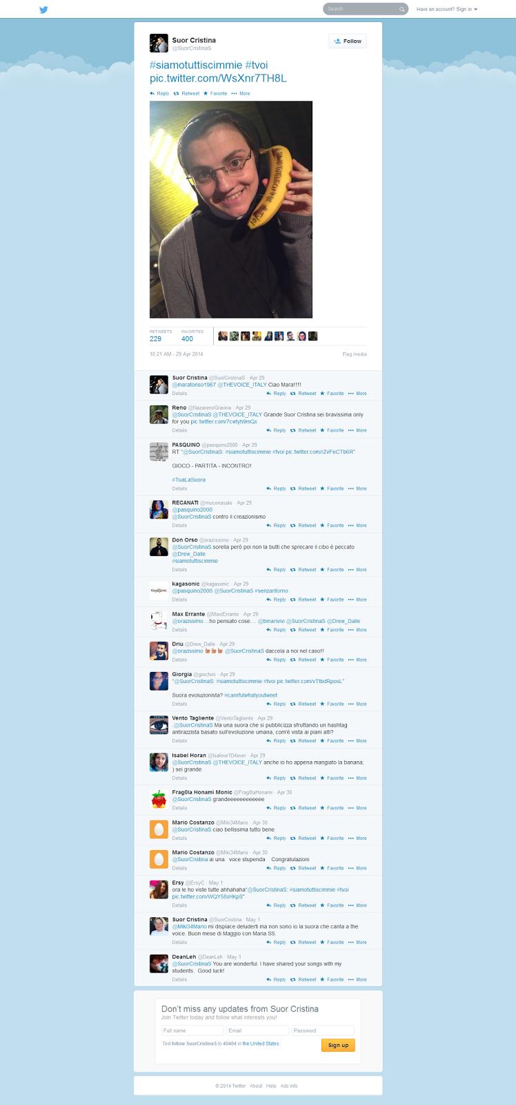 two screen captures of the tweet Suor Cristina sent out (click here for  original) 5f2e65e40