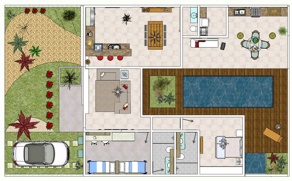 Plantas de casas modernas fotos e modelos for Plantas de casas tipo 3 modernas
