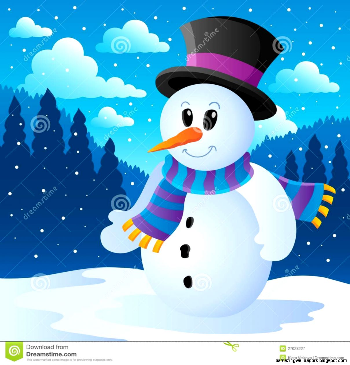 Winter Snowman Theme Image 1 Royalty Free Stock Photography